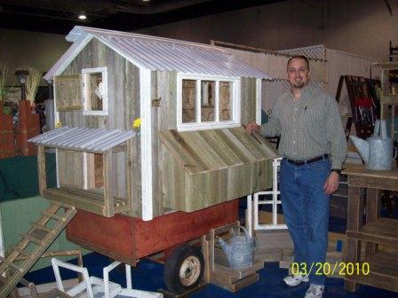 Chicken Coop On Red Trailer